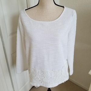 Ann Taylor White Pull-on Top with Lace Trim